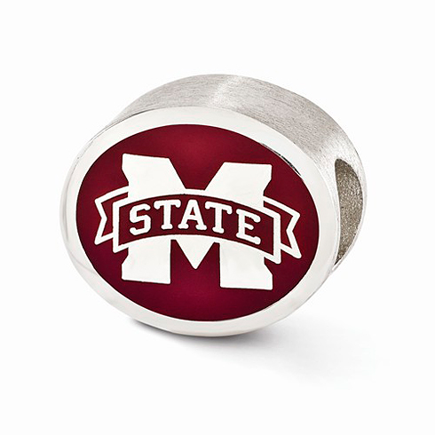 Sterling Silver Enameled Mississippi State University Bead