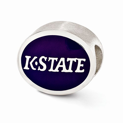 Sterling Silver Enameled Kansas State University Bead
