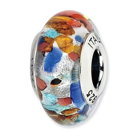 Sterling Silver Reflections Red Orange Blue Italian Murano Bead