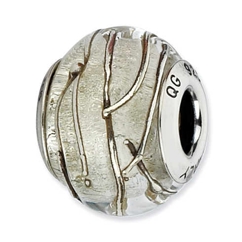 Sterling Silver Reflections Clear Silver Striped Italian Murano Bead