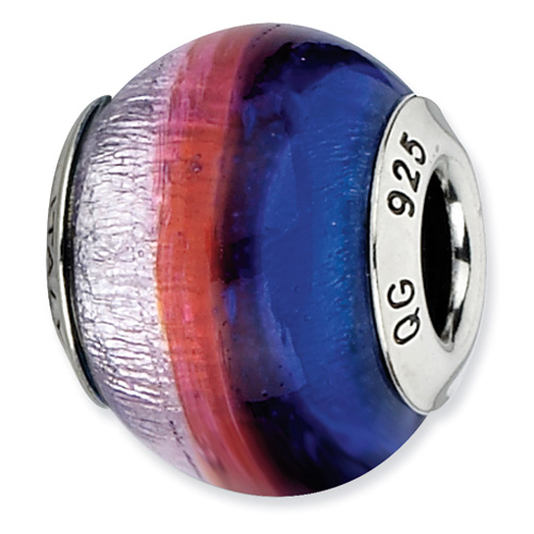 Sterling Silver Reflections Dark Blue Red Silver Italian Murano Bead