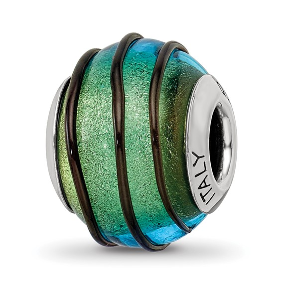 Sterling Silver Reflections Teal with Black Stripes Italian Murano Bead
