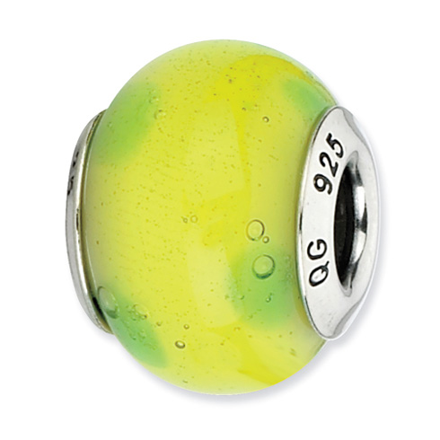 Sterling Silver Reflections Light Green with Dots Italian Murano Bead