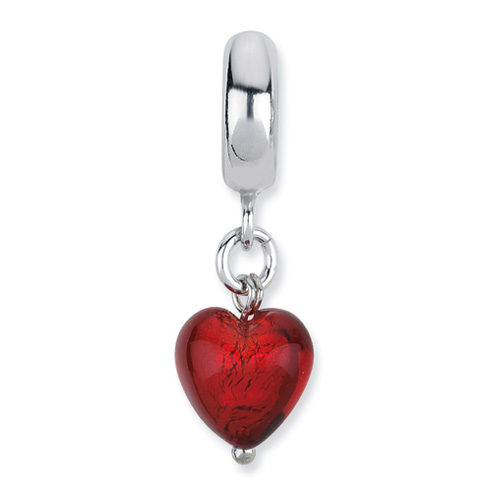 Sterling Silver Reflections Red Heart Italian Murano Dangle Bead