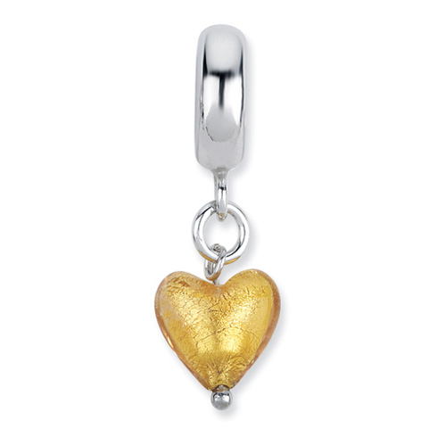 Sterling Silver Reflections Yellow Heart Italian Murano Dangle Bead