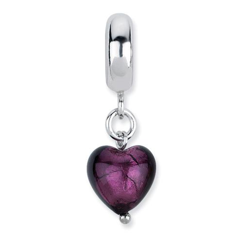 Sterling Silver Reflections Purple Heart Italian Murano Dangle Bead