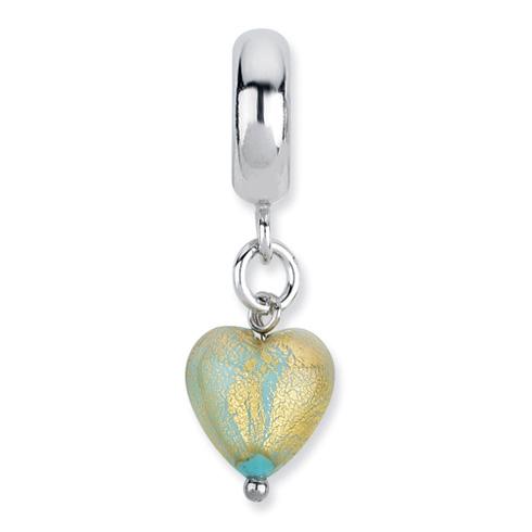 Sterling Silver Reflections Sea Foam Heart Italian Murano Dangle Bead