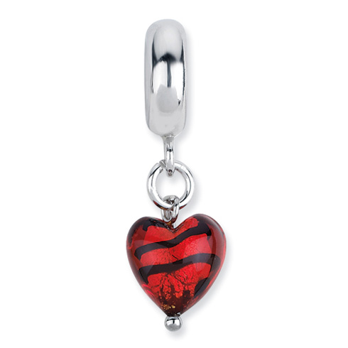 Sterling Silver Reflections Heart Italian Murano Dangle Bead