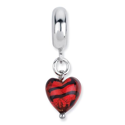 Sterling Silver Reflections Heart Italian Murano Dangle Bead