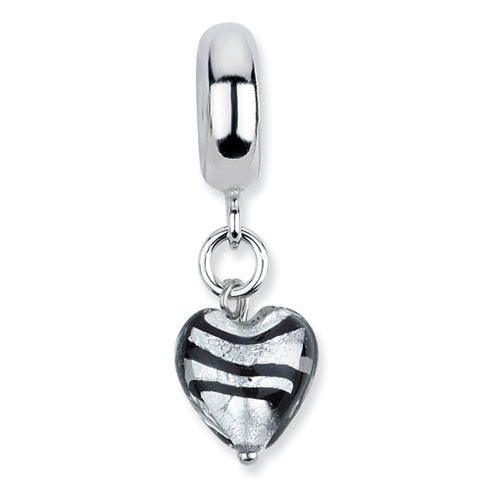 Sterling Silver Reflections Grey with Blk Stripe Italian Murano Dangle Bead