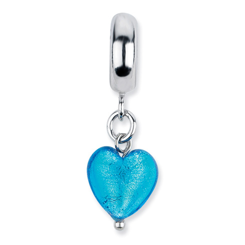 Sterling Silver Reflections Blue Heart Italian Murano Dangle Bead