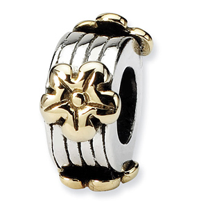 Sterling Silver 14k Gold Reflections Floral Bead with Grooves