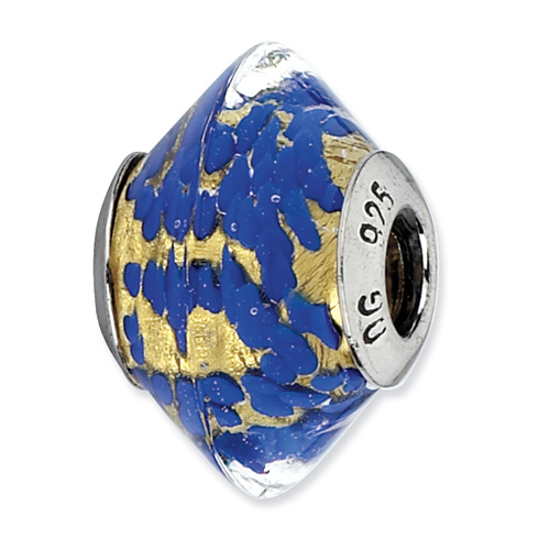 Sterling Silver Reflections Blue Yellow Italian Murano Glass Bead