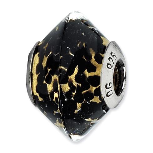 Sterling Silver Reflections Black Yellow Italian Murano Glass Bead