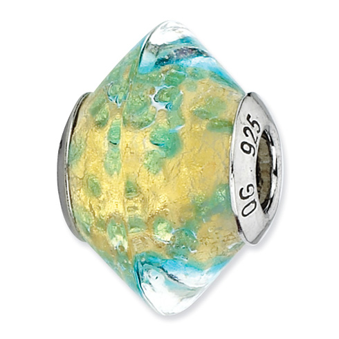 Sterling Silver Reflections Yellow Teal Italian Murano Glass Bead