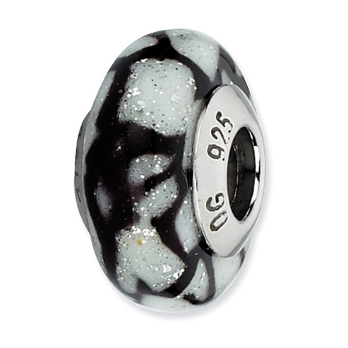 Sterling Silver Reflections White Black Glitter Overlay Glass Bead