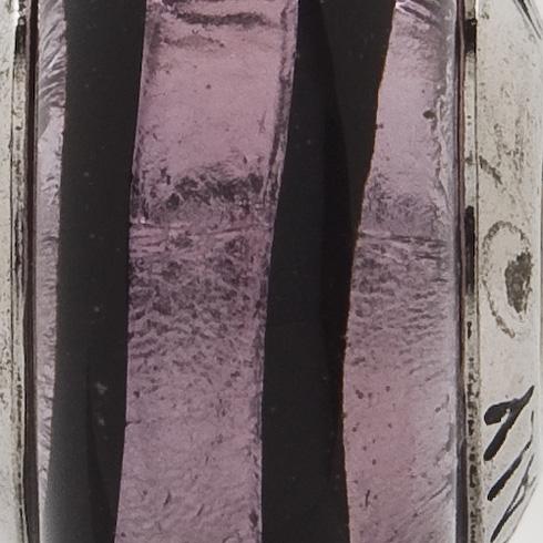 Sterling Silver Reflections Purple Black Stripes Italian Murano Bead
