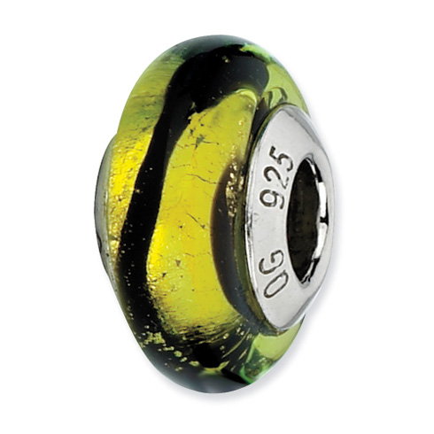 Sterling Silver Reflections Lime Black Stripes Italian Murano Bead