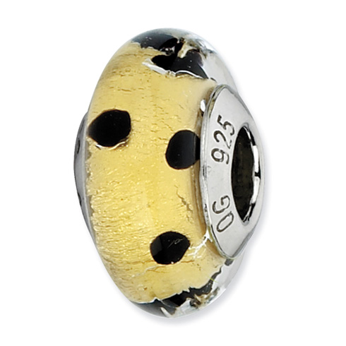 Sterling Silver Reflections Gold with Black Dots Italian Murano Bead