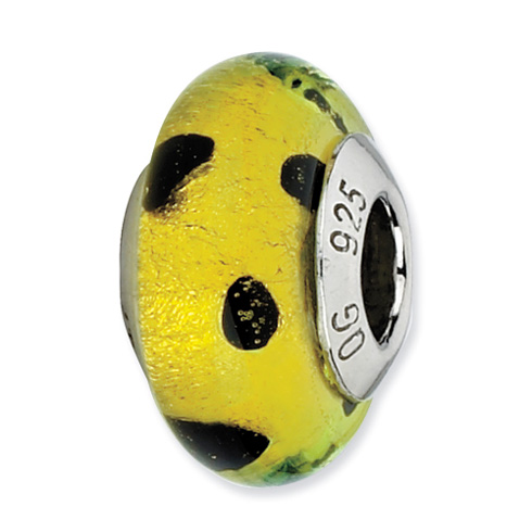 Sterling Silver Lime Green with Black Dots Murano Bead