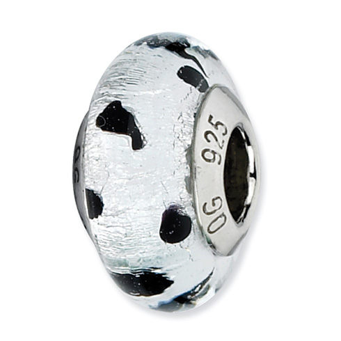 Sterling Silver Reflections Silver with Black Dots Italian Murano Bead