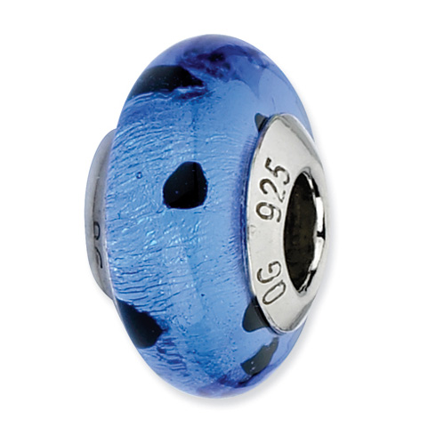 Sterling Silver Reflections Blue Black Dots Italian Murano Bead