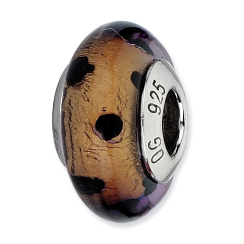 Sterling Silver Reflections Brown with Black Dots Italian Murano Bead