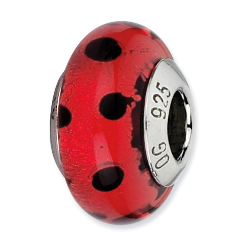 Sterling Silver Reflections Red with Black Dots Italian Murano Bead