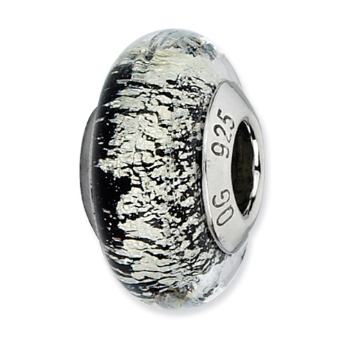 Sterling Silver Reflections Black Silver Italian Murano Glass Bead