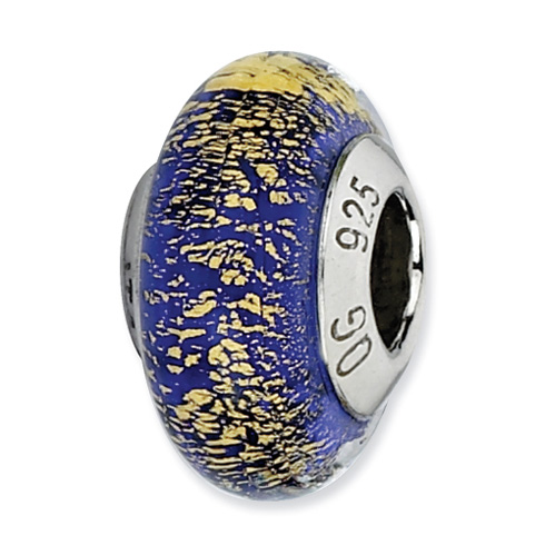 Sterling Silver Reflections Blue Gold Italian Murano Glass Bead