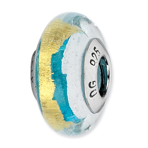 Sterling Silver Reflections Turquoise Silver Gold Italian Murano Bead