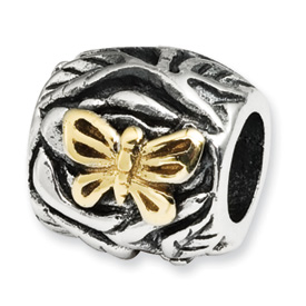 Sterling Silver & 14kt Gold Reflections Butterfly Floral Bead
