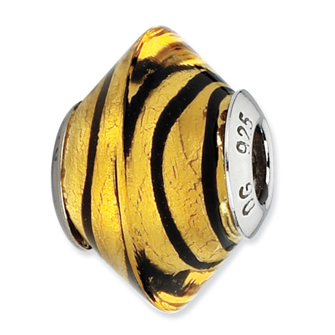 Sterling Silver Reflections Yellow with Black Stripes Italian Murano Bead