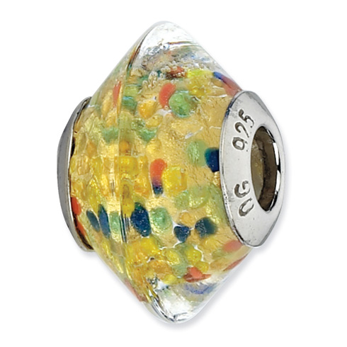 Sterling Silver Reflections Multicolor Italian Murano Glass Bead