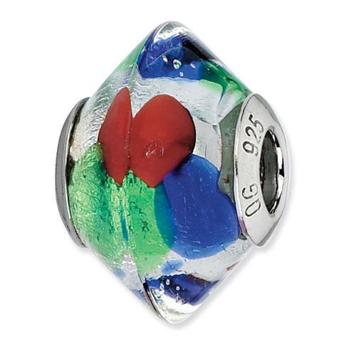 Sterling Silver Reflections Blue Green Red Silver Italian Murano Bead
