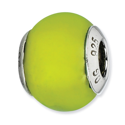 Sterling Silver Reflections Lime Green Matte Italian Murano Bead