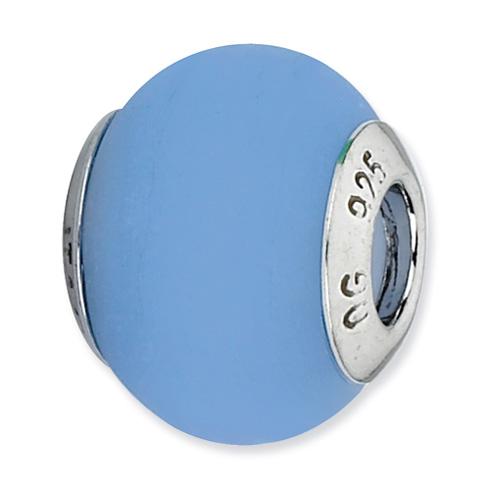 Sterling Silver Reflections Blue Matte Italian Murano Glass Bead