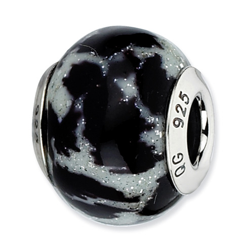 Sterling Silver Reflections White and Black with Glitter Overlay Glass Bead