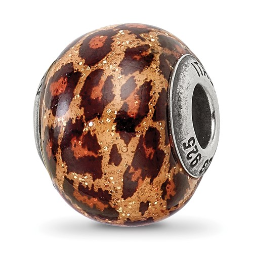 Sterling Silver Reflections Brown Jaguar Glitter Overlay Glass Bead