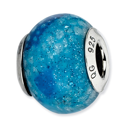 Sterling Silver Reflections Blue Python Glitter Overlay Glass Bead