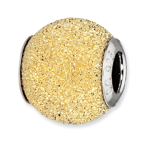 Sterling Silver Reflections Gold-plated Hammered Laser Cut Bead