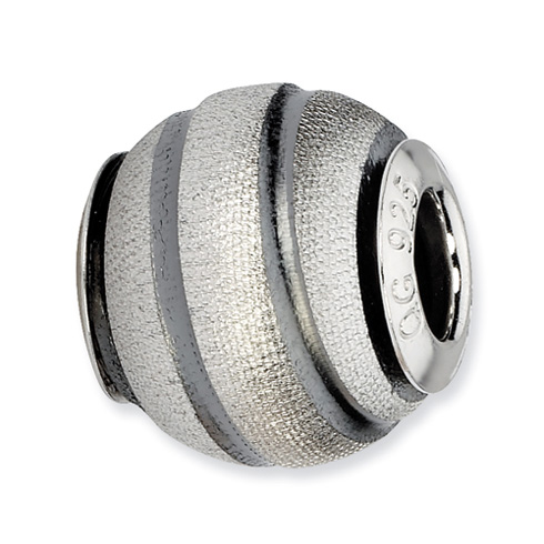 Sterling Silver Reflections Grey Laser Cut Bead with Dark Grey Grooves