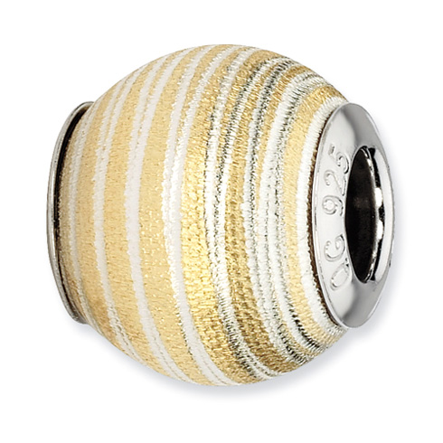 Sterling Silver Reflections Gold-plated Striped Laser Cut Bead