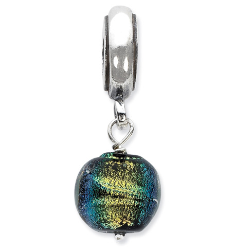 Sterling Silver Reflections Green Dichroic Glass Dangle Bead