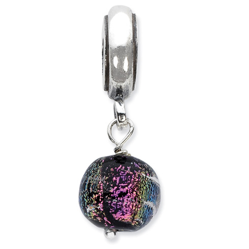 Sterling Silver Purple Dichroic Glass Dangle Reflections Bead