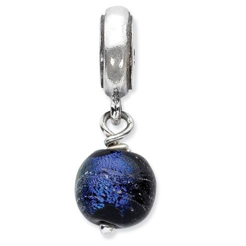 Sterling Silver Reflections Rainbow Dichroic Glass Dangle Bead