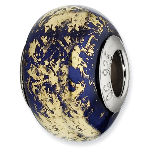 Sterling Silver Reflections Dark Blue with Gold Foil Ceramic Bead