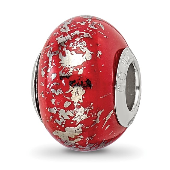 Sterling Silver Reflections Red with Platinum Foil Ceramic Bead