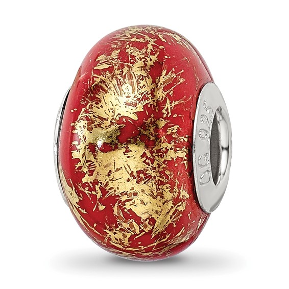 Sterling Silver Reflections Red with Gold Foil Ceramic Bead