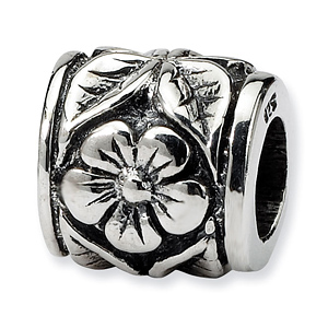 Sterling Silver Reflections Flower Petal and Leaves Bead